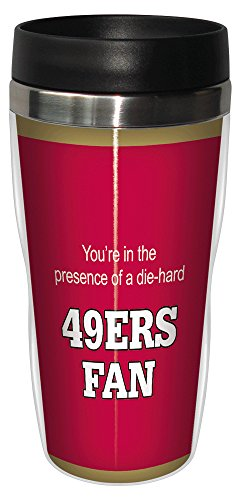 Tree-Free Greetings sg24134 49ers Football Fan Sip 'N Go Stainless Steel Lined Travel Tumbler, 16-Ounce