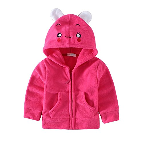 Hooded Assistant Sweatshirt (Mud Kingdom Cute Toddler Girls Fleece Animal Costume Hoodies 24 Months Rose Red Rabbit)