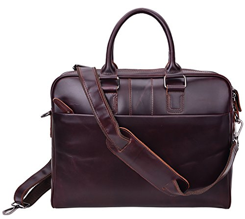ALTOSY Geniune Leather Laptop Briefcase Cross Body Messenger Bag 6140-1A (Red Brown) by ALTOSY