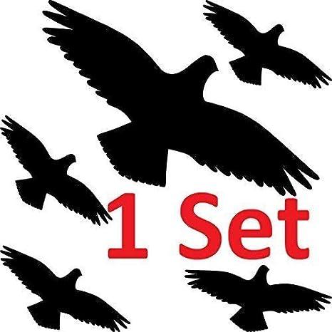 Greenit Warnvogel Set Vogel Vögel Warnvögel Silhouette Aufkleber Die Cut Tattoo Fenster Schutz Gegen Vogelschlag Deko Folie 1 Set Schwarz