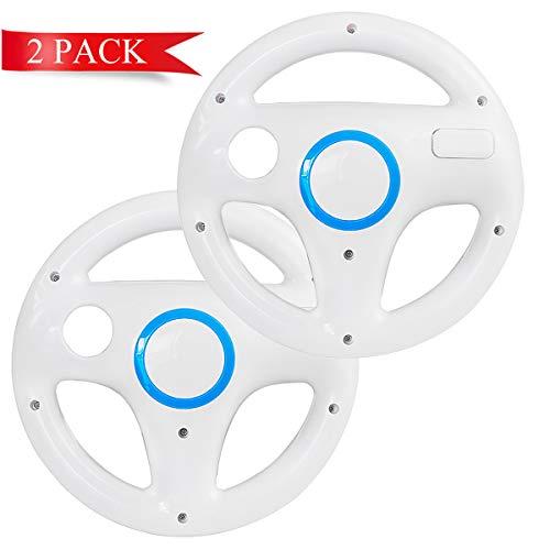 DOYO 2 Pack Mario Kart Steering Wheels Wii Racing Wheel for Nintendo Wii, Mario Kart, Tank, More Wii or Wii U Racing Games (White)
