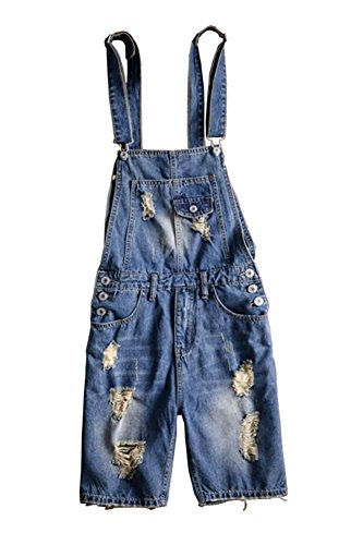 Sokotoo Men's Plus Size Knee Length Ripped Denim Bib Overalls Shorts Size 34 (Knee Bib Length)