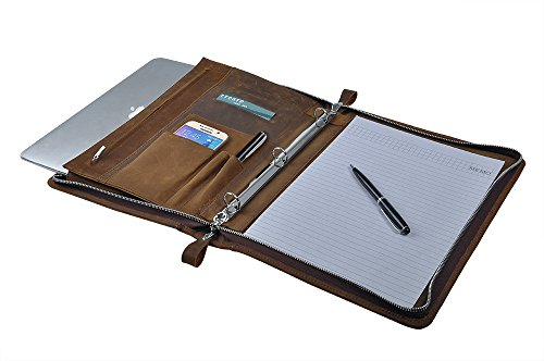 Rustic Leather Padfolio with 3-Ring Binder for Letter A4 Paper, 11-inch MacBook Air, Tan by iCarryAlls