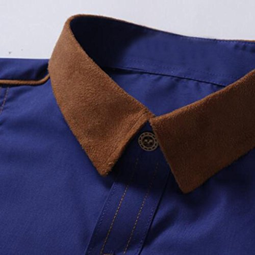 Camicia Uomo Patchwork Kaiki Moda Uomo Tinta Unita Casual Manica Lunga Blu