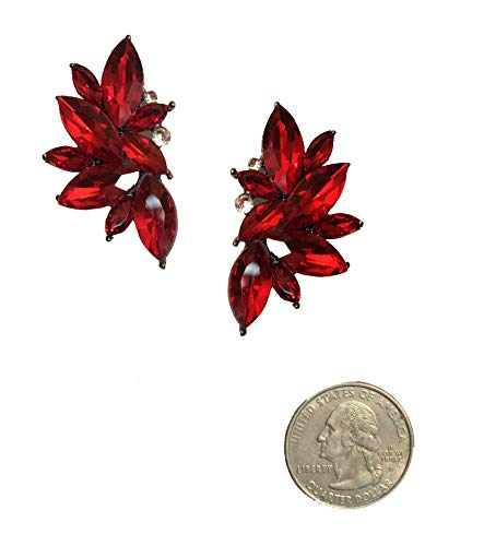 (Art Deco Antique Vintage Style Scarlet Ruby Red Rhinestone Cluster Bridal Prom Gatsby Formal Wedding Earrings)