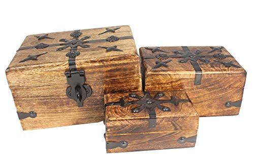 Well Pack Box Pirate Treasure Chest Decorative Keepsake Box Set - Solid Wood Fits Full Size Lock Hasp