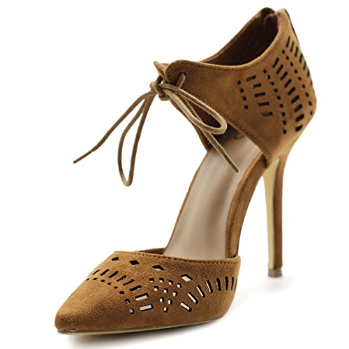 Ollio Women Shoes Cut Out Tie-up Faux Suede Ankle Stiletto High Heel Booties SSH10(9 B(M) US, Tan) (Suede Heel High Brown Pumps)