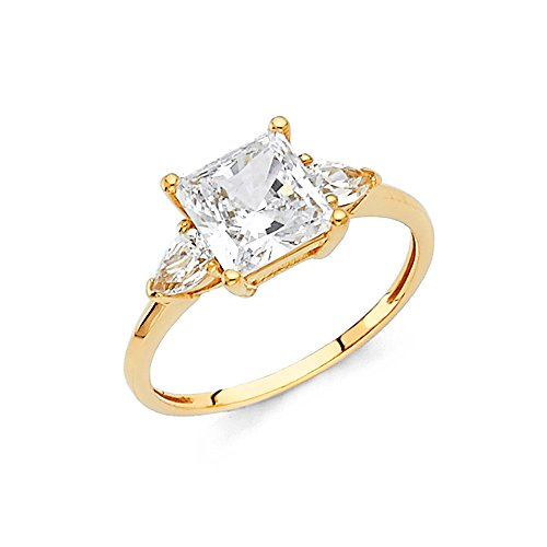 1.25 Carat (ctw) 14k Yellow Gold Princess Engagement Ring - Size 12 by JewelrySuperMart Collection