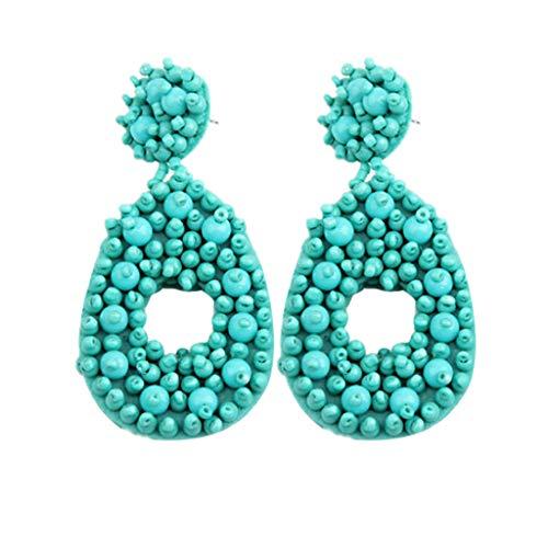 Handmade Dangling Earrings (Handmade Beaded Earrings Bohemian Statement Dangle Hoop Earrings for Women Girls Jewelry (Sky Blue))