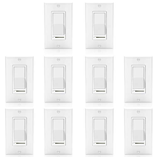 [10 Pack] BESTTEN Dimmer Light Switch, Universal Lighting Control, Single Pole or 3 Way, Compatible with LED Dimmable Lamp, CFL, Incandescent, Halogen Bulb, Decorative Wall Plate Included, White