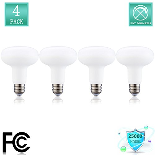 BR30 Bulb 12W LED Light Bulbs (120W Equivalent), R30 - E26 Wide Flood Light Bulb, Medium Screw Base, 1320 Lumens 120 Beam angle,120 Volt Indoor/Outdoor, Non-Dimmable, Daylight (5000K) (Pack of 4) - Non Flip Base