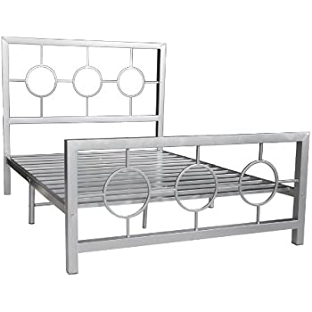 this item home source industries 13161 queen metal bed frame with decorative headboard and footboard silver