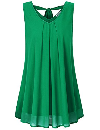 Sleeveless Gauze Top - MOQIVGI Dressy Blouses Women,Ladies Chiffon Sleeveless Vneck Tank Shirts Layered Knot Tie Gauze Breathable Cool Summer Tops Dressy Elegant Office Tunics to Wear Leggings Green Large
