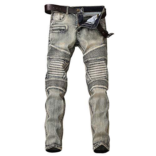 Vieja con Masculina Vaquero Índigo Motociclista WJP De Rectos Pantalones Recto para Pliegues Borde Pantalones Marea Hombres Jeans Cintura Agujero 77fnXp
