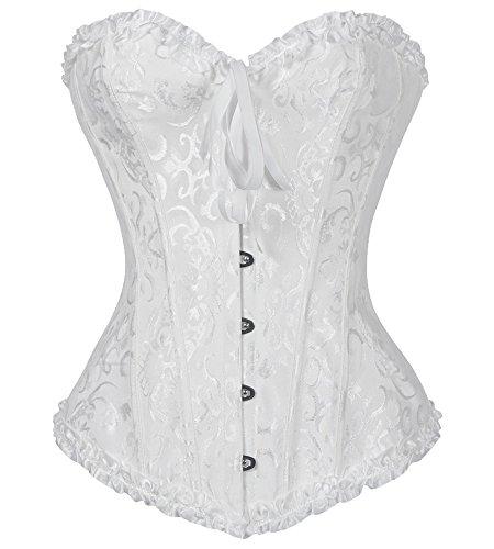 3-5 Days Delivery Bustiers Corset Lace Trim Corset Overbust Waist Cincher Bustier Shapewear Outfit, White, US 4-6/waist:25.6