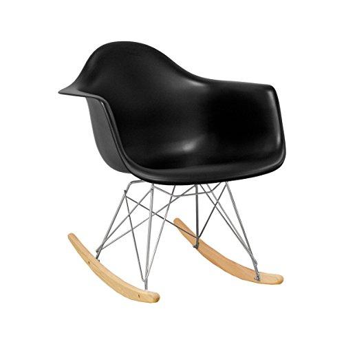 Ergo Furnishings Mid-Century Eiffel Tower Molded Plastic Rocker Rocking Chair, Black by Ergo Furnishings