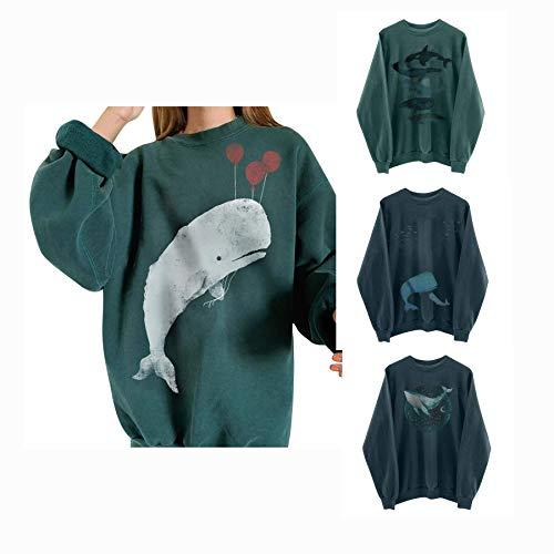 DANNIY Pull Grande Taille pour Femme Sweat à Manches Longues pour Femme Chemise décontractée Baleine surdimensionnée Sweat de Noël (1#Baleine, XXL)