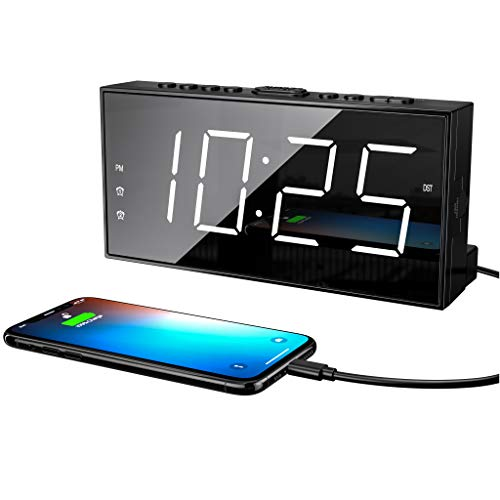 Loud LED Digital Alarm Clocks for Bedrooms Bedside with Snooze Dual Alarm Clock for Heavy Sleepers with USB Charger, 7…