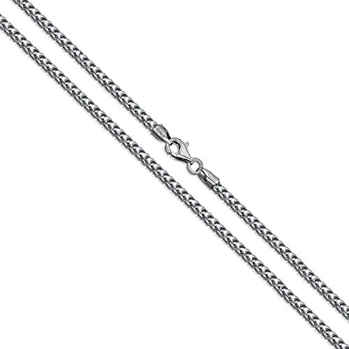 Necklace Box Chain Oxidized - Orostar Sterling Silver 2MM Solid Franco Square Box Link Italian Chain Necklace, 16-36 Inch - Made in Italy (Rhodium, 26)