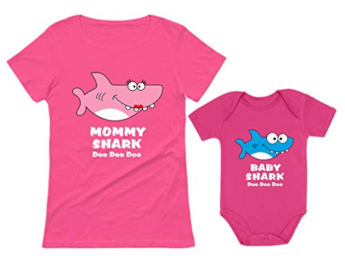 Baby Shark & Mommy Shark Doo Doo Doo T-Shirt Bodysuit Set for Mother and Baby Mommy Pink Large/Baby Wow Pink 12M (6-12M) ()