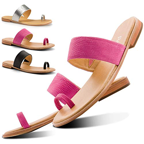 (Parfeying Sandals for Women, Adjustable Leather Strap with Toe Ring Matte Flat Slides (L10333, Peony, US 8))