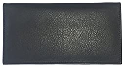 Black Basic Leather Checkbook Cover