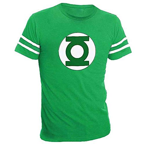 The Green Lantern Logo With Striped Sleeves Green Adult T-shirt Tee (Adult XX-Large)