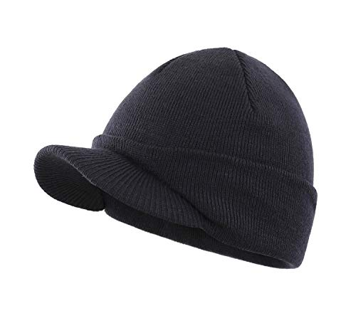 - Home Prefer Winter Hat Thick Knit Beanie for Men Snow Ski Caps Warm Skull Hat Navy Blue