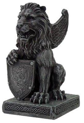 Lion Gargoyle with Shield Figurine Statue (Gargoyle Shield)