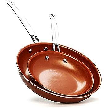 Amazon Com Copper Round Skillet Frying Pan Ceramic Non
