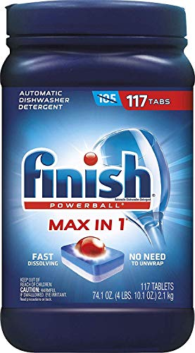 (Finish Max in 1 Plus Dishwasher Detergent 110-Count Easy to use Wrapper Free Powerball Tabs in Convenient Mess Free 4 Lb Snap Top Plastic Tub Fresh Scent)