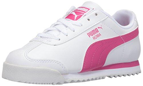 PUMA Girls' Roma Basic PS - K Sneaker, White/Fuchsia Patent, 1 M US Little Kid (Puma Roma Basic Kids)