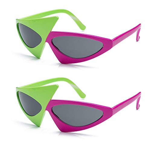 2 Pack Asymmetric 80's Sunglasses - Hot Pink and Neon Green Party Favors, Novelty Shades, Rock Star Costume Glasses Toys, Hip Hop Dance, Funny Glasses Accessories for Kids & Adults -
