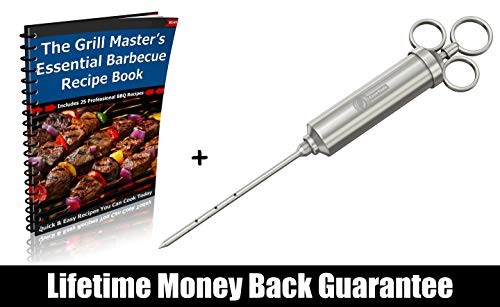 Meat Injector - 304 Stainless Steel 2.3-oz BBQ Injection Kit Marinade Seasoning Window for Cooking Grill Smoker Barbecue - Syringe Injects Cajun Flavor in Chicken Turkey Beef - 3 Professional Needles by Cave Tools (Image #6)
