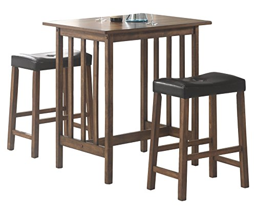 Coaster Home Furnishings 130004 CO-130004 3 Pc Counter Height Set, Brown/Black