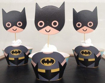 Af Kitchen : Cute Batman Cupcake Wrappers Toppers Decoration for Boys Kids Birthday Party Favors Supplies Comic Superhero