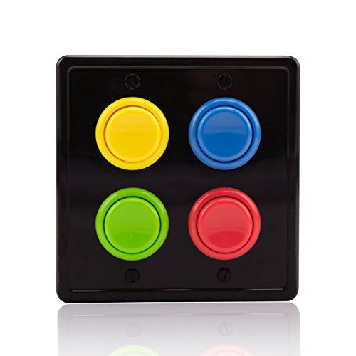 Switch Kids Cover Light Room - Arcade Light Switch Plate Cover, (Black/Red,Blue,Green,Yellow) Double Switch, 2-Gang Standard Size Rocker Wall Plate, Game Room Decorator, Kid Bedroom Wallplate, Faceplate Replacement