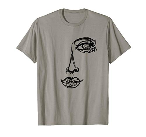 Portrait Illustration - Abstract One Line Drawing Portrait T-Shirt Illustration Tee