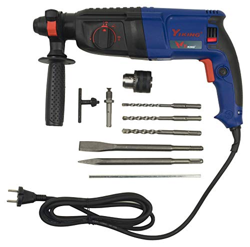 KHADIJA YIKING 900WATTS 26mm Reversible Rotary Hammer Drill SDS Plus with 3 Modes 3 Hammers Bits 2 Chisels (BLUE) Price & Reviews