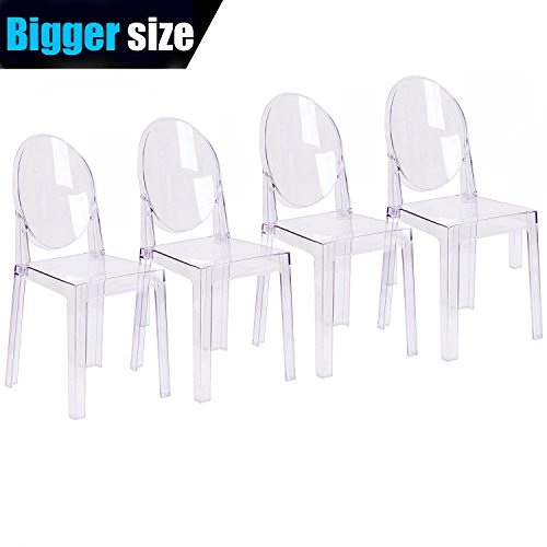 2xhome - Set of Four (4) - Clear - Large Size - Modern Ghost Side Chair Dining Room Chair Ghost Chair Clear Victoria Chair - Accent Seat - Lounge No Arms Armless Arm Less Chairs by 2xhome