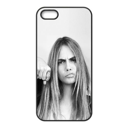 Cara Delevingne coque iPhone 4 4S cellulaire cas coque de téléphone cas téléphone cellulaire noir couvercle EEEXLKNBC24032
