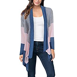 Women's Casual Color Block Open Front Long Sleeve Knit Cardigans