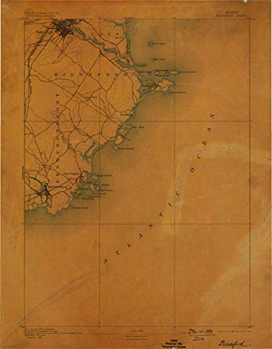 YellowMaps Biddeford ME topo map, 1:62500 Scale, 15 X 15 Minute, Historical, 1893, Updated 1898, 19.9 x 15.4 in - Paper ()