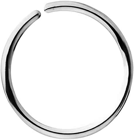 18G - 20G Surgical Steel Seamless Nose Ring & Cartilage Hoop with Comfort Round Ends (6 mm - 10 mm)
