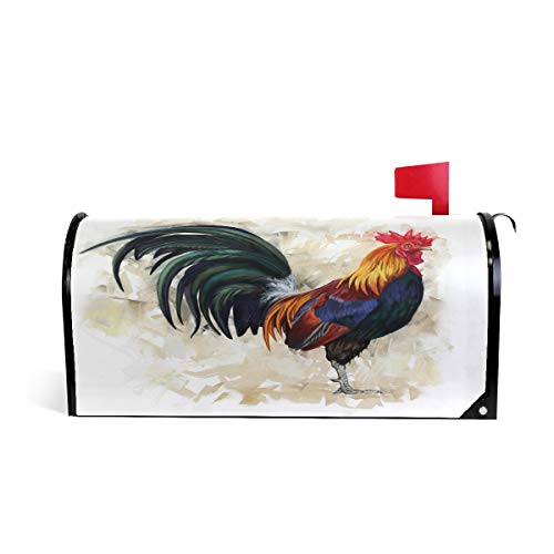 MAHU Magnetic Mailbox Cover Art Painting Rooster Animal Post Box Letter Cover Mailbox Wrap for Home Garden Yard Decor, 25.4
