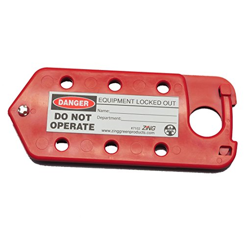 ZING 7102 RecycLockout Lockout Tagout Hasp and Tag Combination, Recycled Plastic