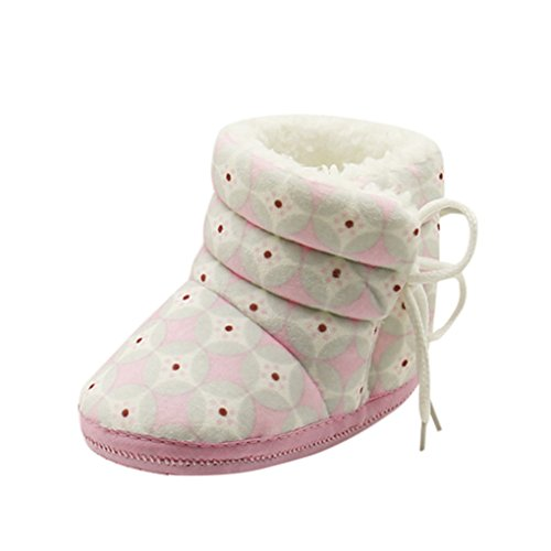 Vovotrade Newborn Baby Heart Lint Print Boots Soft Sole Boots Prewalker Warm Shoes (one size, Rosa) Rosa