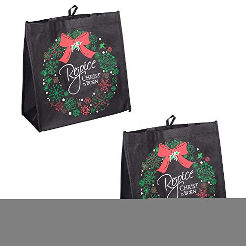 Rejoice Christ is Born Wreath Glittered 12 x 12 Reusable Eco-Friendly Tote Bag, Pack of 2