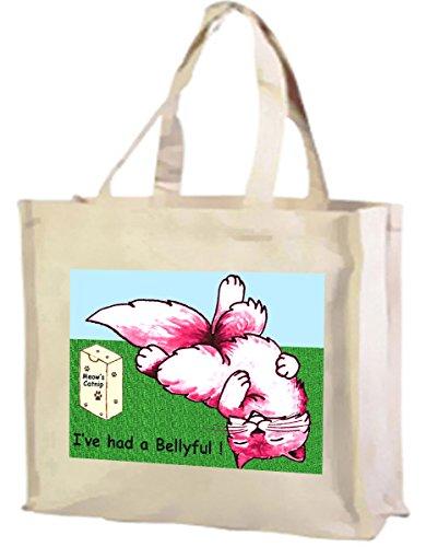 Cream Cotton Bellyful Cartoon Had Tote Shopping a Bag I've Cat nfBRUqfv
