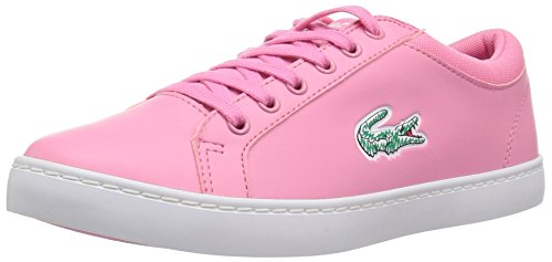 Lacoste Lace Sneakers (Lacoste Kids' Straightset Lace Sneakers,Pink/White synthetic,6.5 M US Big Kid)